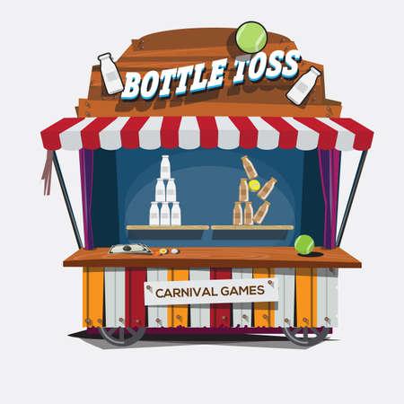 Illustration pour carnival game. Milk Bottle Toss - vector illustration - image libre de droit