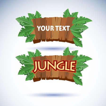 jungle wood sign - vector illustration