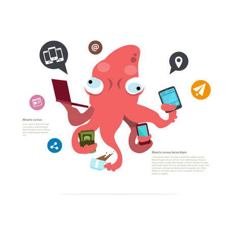 busy squid character. management concept. social network icon - vector illustration