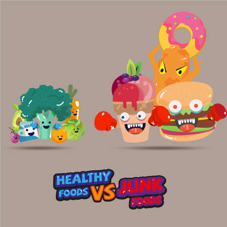 Illustration for heathy food versus junk food. character design choice of a healthy or unhealthy food. typographic design. cartoon style - vector illustration - Royalty Free Image