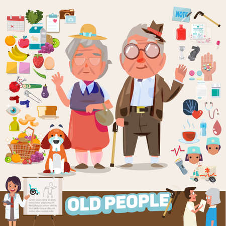 Illustration pour couple of lovely old people with icons set. elements graphic. infographic. character design - vector illustration - image libre de droit