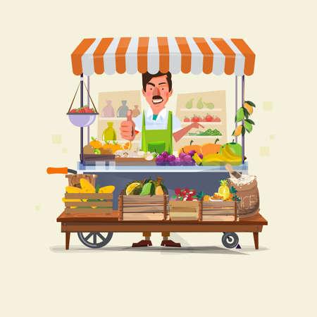 Foto de vegetables and fruits cart with seller character design. market cart. Green Carts sell only fresh fruits and vegetables. promote healthy eating concept - vector illustration - Imagen libre de derechos