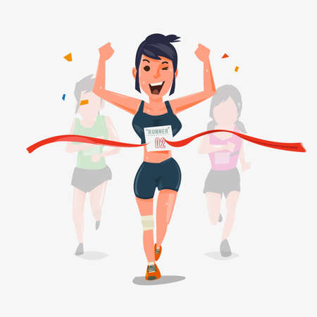 Illustration for Finishing runner character design with other behind. Winning Champion concept - vector illustration - Royalty Free Image