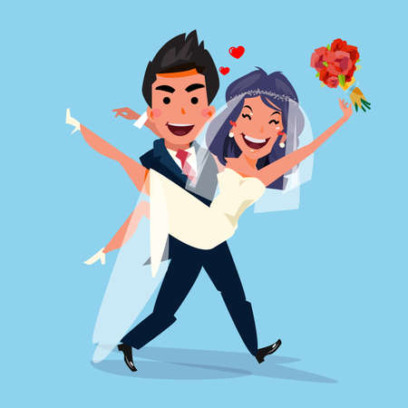 Illustration pour Groom carrying bride holding her in his arms. love and wedding concept. character design - vector illustration - image libre de droit