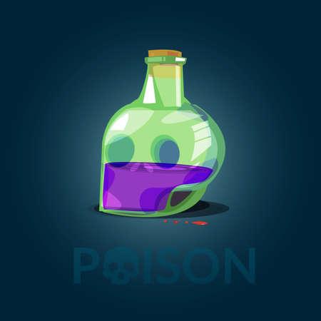 Glass Bottle of Poison in skull shape come with typographic for header design - vector illustration