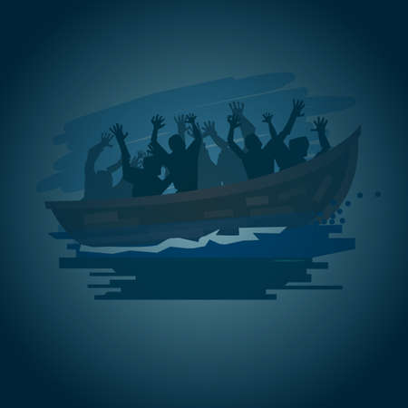 Illustration pour Refugees people on a boat on the stormy sea in silhouette style, move to better life concept - vector illustration - image libre de droit