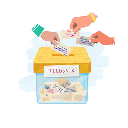 Illustration pour Hand inserting paper of feedback in to box. feedback and suggestion box concept - vector illustration. - image libre de droit