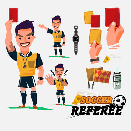 Football or Soccer Referee with card and graphic elments.