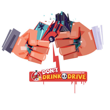 Ilustración de cheers hand with hitting car crash like a beer or alcohol glass. accident from drink and drive. don't drink and drive concept - vector illustration - Imagen libre de derechos