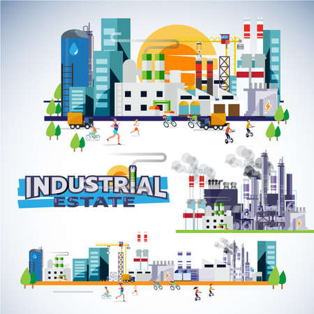 Illustration pour industrial estate skyscraper with factory, warehouse, powerplant and building set. typographic for header design - vector illustration - image libre de droit