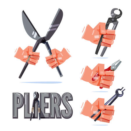 Hand holding type of pliers. hand and tool concept - vector illustration