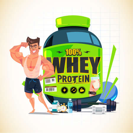 Vektor für Strong man showing his arm muscle in front of Big whey protein container with gym equipment - vector illustration - Lizenzfreies Bild