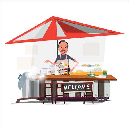 Ilustración de Asian noodle cart style with a merchant. street vendor. character design - vector illustration - Imagen libre de derechos