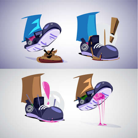 Illustration for Foot stepping on shit and gum. before and after step - vector illustration - Royalty Free Image