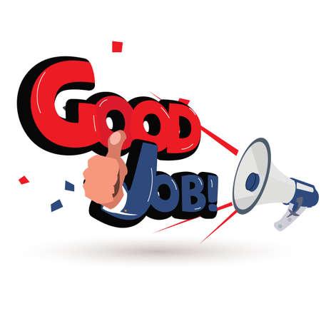 Illustration pour Megaphone with good job! logotype - vector illustration - image libre de droit