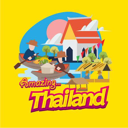 Ilustración de floating market in Thailand  with typographic. landmark of Thailand - vector illustration - Imagen libre de derechos