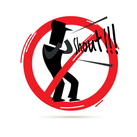 Illustration pour stop  to shout sign. icon of man shouting out in red stop sign - vector illustration - image libre de droit