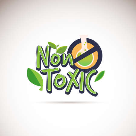 Illustration pour Non-Toxic logotype. Typographic.  no chemical product guarantee sign - vector illustration - image libre de droit
