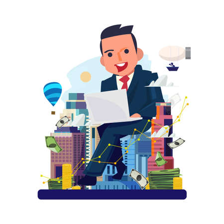 Illustration pour businessman working by laptop with city in background. Real estate agent. Real estate developers. make money by real estate concept - vector illustration - image libre de droit