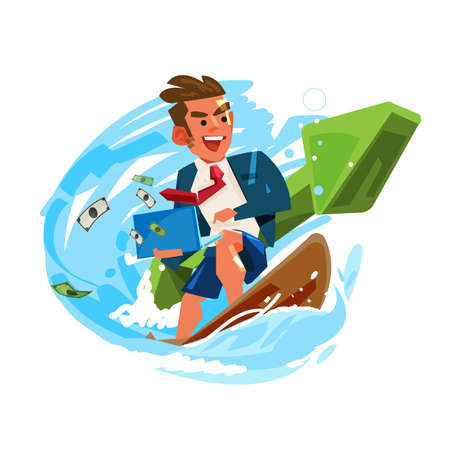 businessman surfing and working on wave with green positive graph.  successful business or working concept - vector illustration