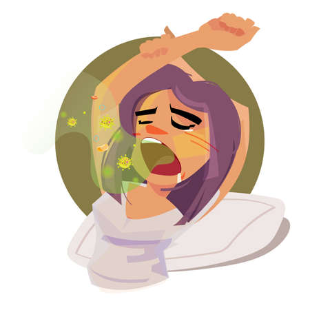 Illustration pour girl waking up with bad breath in the morning. illustration - image libre de droit