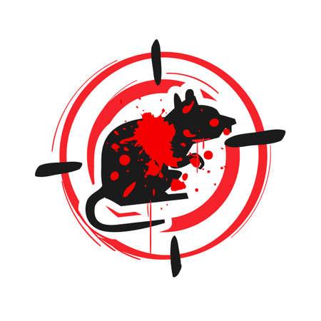 Illustration pour rat killing zone sign. rat warning sign. stop rat sign - vector illustration - image libre de droit