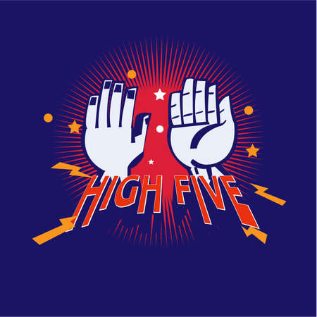 Ilustración de High-Five hand logotype - vector illustration - Imagen libre de derechos