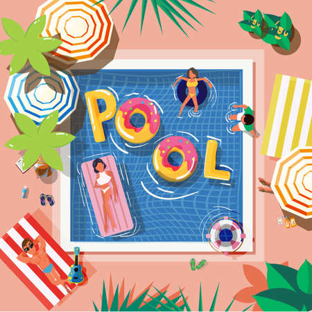 pool in top view with reading people and graphic elements - vector illustration