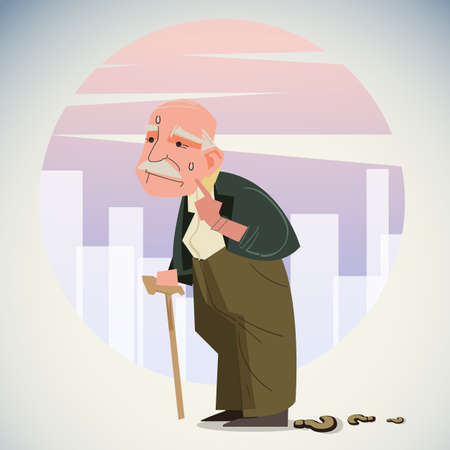 Illustration pour Old depressed man walk alone down the street with walking stick, lost way to home - vector illustration - image libre de droit