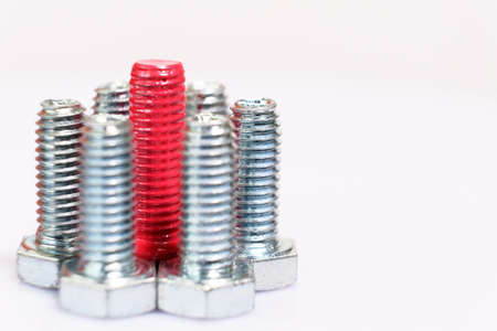 Close-up of pink bolt n a group of galvanized metallic screws. Leadership, individuality, dissimilarity concept. Stainless steel bolts isolated on white background. Copy space.