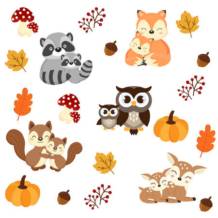 Illustration pour Woodland Animals background. Raccoon, fox, squirrel, owl and deer cartoon. vector illustration. - image libre de droit