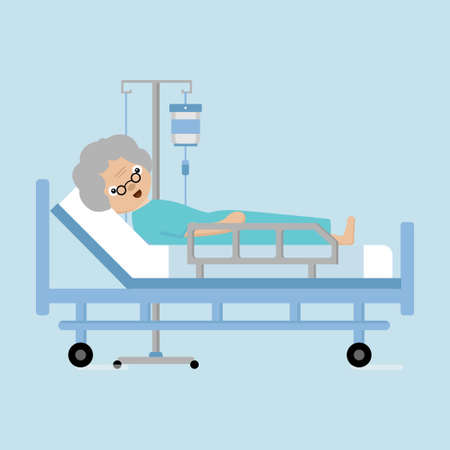 Illustration pour Senior women lying in hospital bed with a drop counter. - image libre de droit
