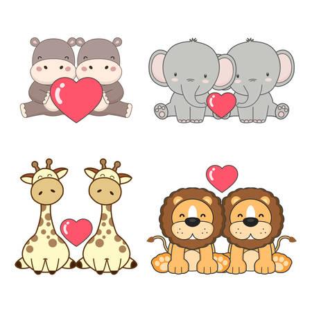 Photo pour Cute animals couples in love collection. Vector illustration. - image libre de droit