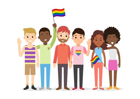 Illustration pour Cute cartoon interracial people group of LGBT - Vector illustration - image libre de droit