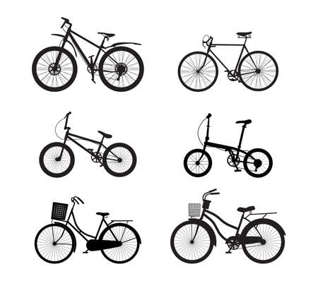 Illustration pour Bicycle silhouette vector set isolated on white background - Vector illustration - image libre de droit