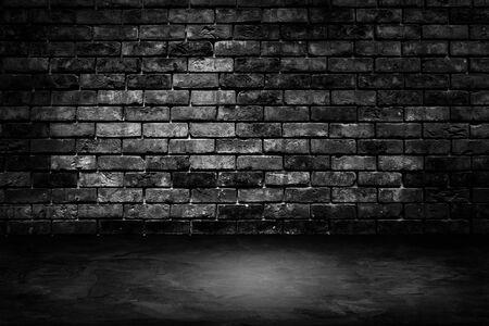 Photo pour Abstract image of Architecture dark room black brick wall with concrete floor. - image libre de droit