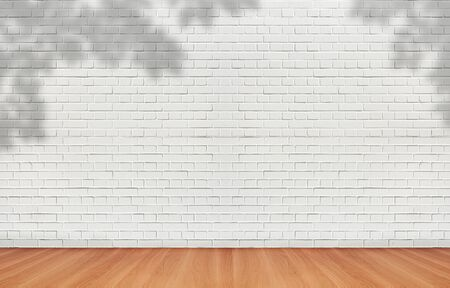 Photo pour Abstract image of Shadow tree leaves shading on white brick wall. - image libre de droit