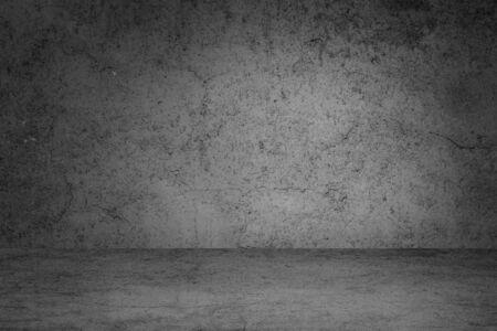 Photo pour Empty space of Studio dark room black concrete grunge wall with concrete floor. - image libre de droit
