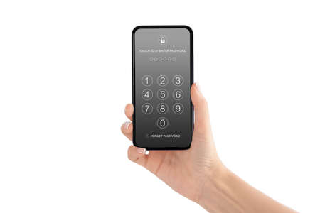 Foto de Technology, Internet, Digital and Networking Security Concept : Hand holding and showing smartphone with passcode keypad for lock or unlock, login or enter password screen. - Imagen libre de derechos