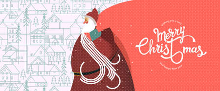 Santa Claus with a big bag, New year and Christmas snowy winter pattern with coniferous forest, pines, cottages, and hand drawn Merry Christmas typography . Celebration quotation for poster, card, postcard, event icon  or badge.