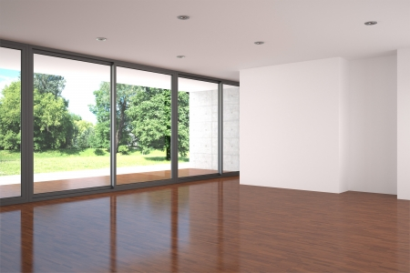 empty modern living room with parquet floor
