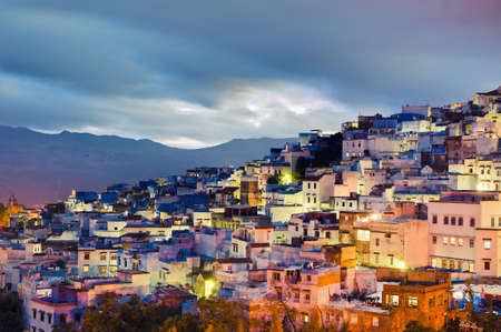 Chefchaouen blue town sunset general view located at northern Morocco