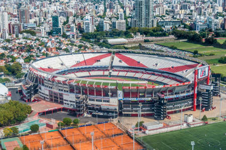 River Plate Football Club stadium bird eye view in Buenos Aires, Argentina.
