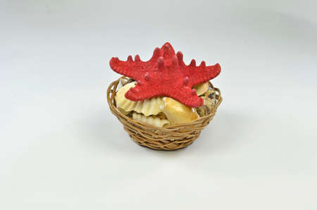 Red starfish - studio photography of wicker basket with a starfish and seashells