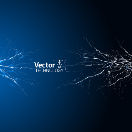 electrical white blue lightnings over dark background and vector illustration