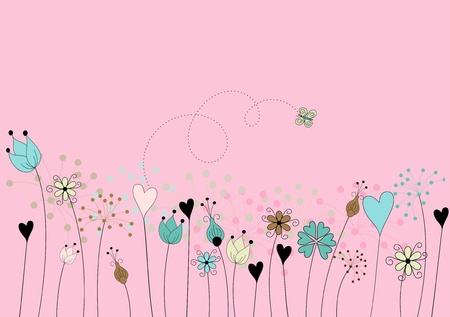 abstract flowers on meadow with butterfly on pink background - hand drawn stylized