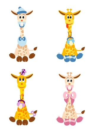 Photo for illustration of four little cute giraffes stylized like newborn children -  isolated  on white background - Royalty Free Image