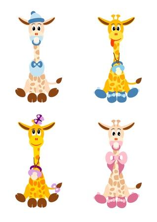 Foto de illustration of four little cute giraffes stylized like newborn children -  isolated  on white background - Imagen libre de derechos