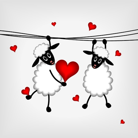 two sheep hanging on washing line and holdin red heart - vector illustration