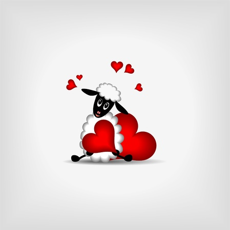 cute lamb holding red heart on gray background - vector llustration